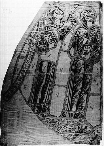 Relevé de fragment de vitrail de saint Benoît : Deux personnages (calque)