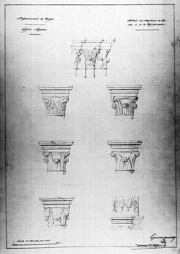Détails des chapiteaux des bas-côtés et de la nef principale