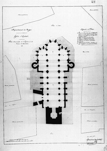 Plan général de l'église et de ses abords