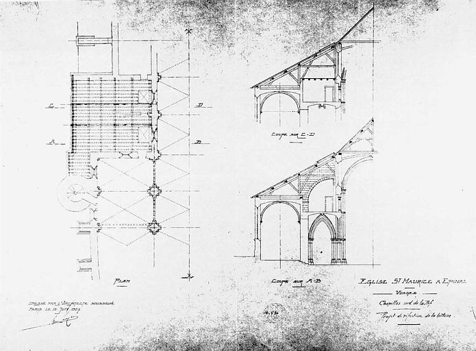 Projet de réfection de la toiture des chapelles sud de la nef : Coupes et plan
