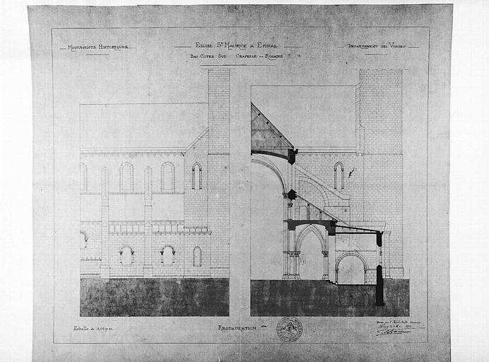 Restauration de la chapelle du Rosaire du bas-côté sud : Elévation et coupe