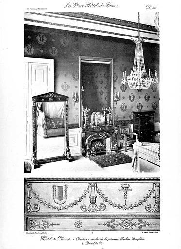 Chambre à coucher de la Princesse Pauline Borghèse et détail du lit (phototypie)