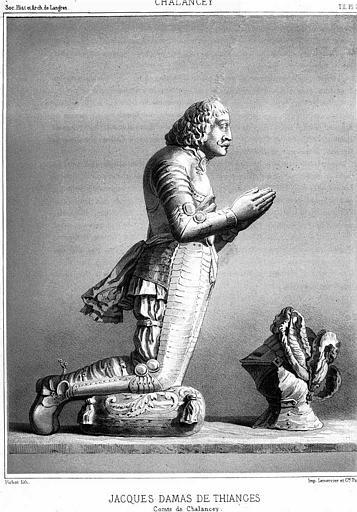 Lithographie : Statue orante de Jacques Damas de Thianges, Comte de Chalancey