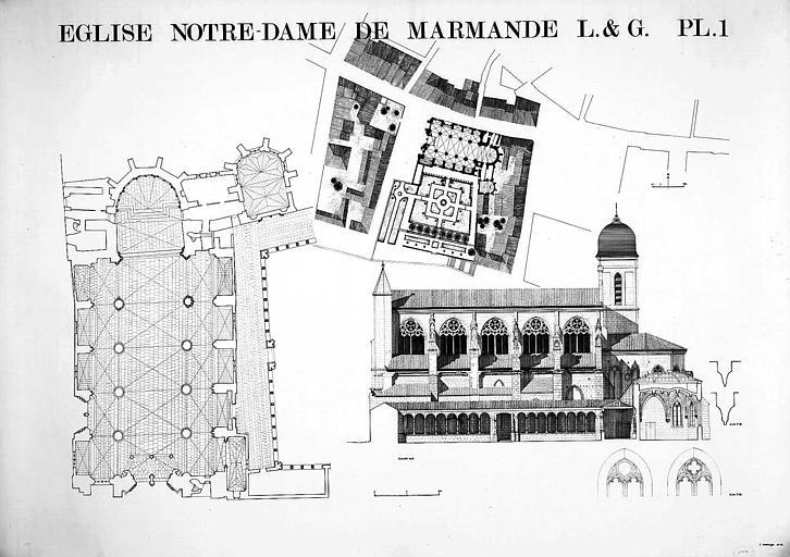 Plan de situation, plan général de l'église, élévation de la façade sud