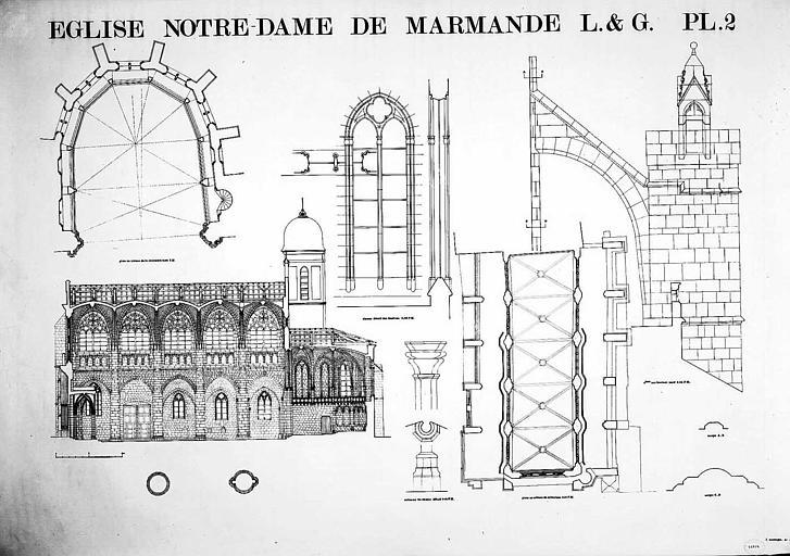 Coupe longitudinale, plan du choeur au niveau de la coursière, plan au niveau du triforium, élévation d'un arc-boutant, détail d'une colonne et d'une fenêtre du choeur