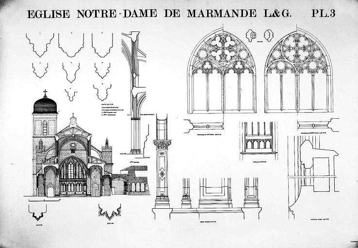 Coupe transversale et détails divers (piles, triforium, fenestrage...)
