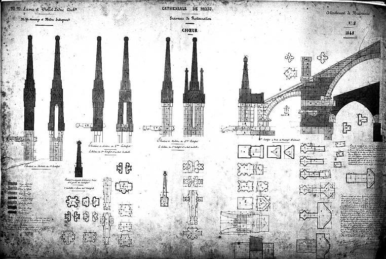 Travaux de restauration du choeur : Plans et élévations des clochetons (plume rehaussé d'aquarelle)