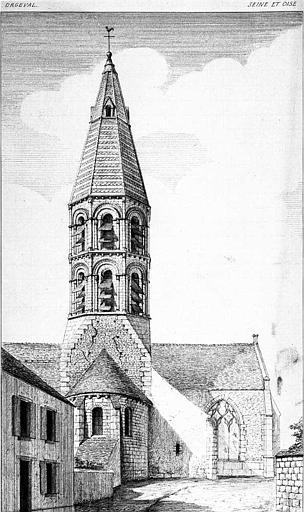 Gravure : Vue perspective du chevet et du clocher