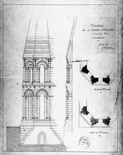 Plan, coupe, élévation du clocher