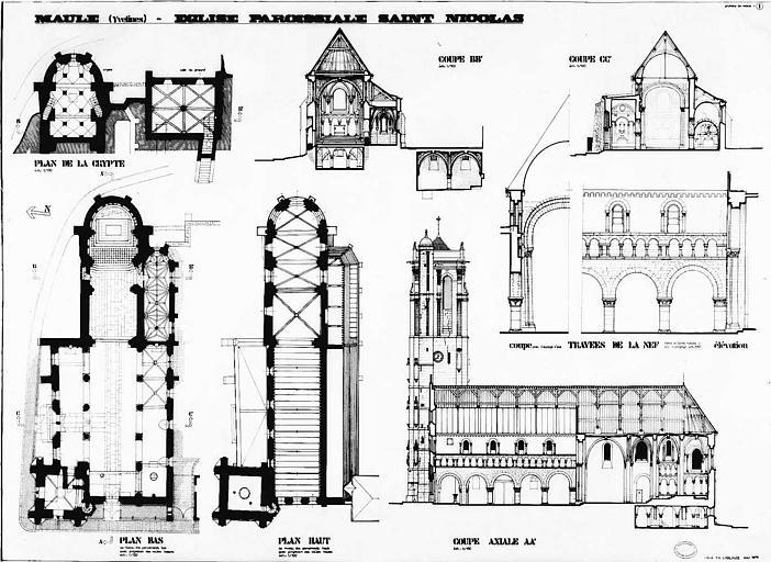 Eglise (plans bas et haut de l'église, coupes longitudinale et transversale), travées de la nef (coupe et élévation), crypte (plan, coupe, élévation)