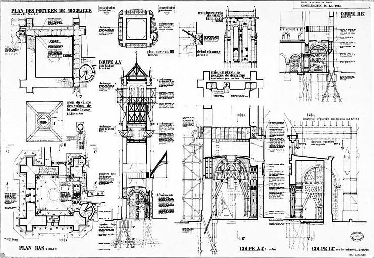 Consolidation de la tour : Plan poutres de décharge