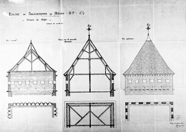 Coupe et plan de la toiture du clocher