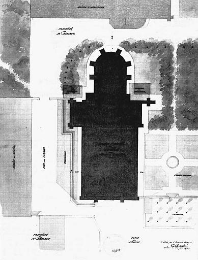 Plan de l'église et de ses abords (dessin aquarellé)