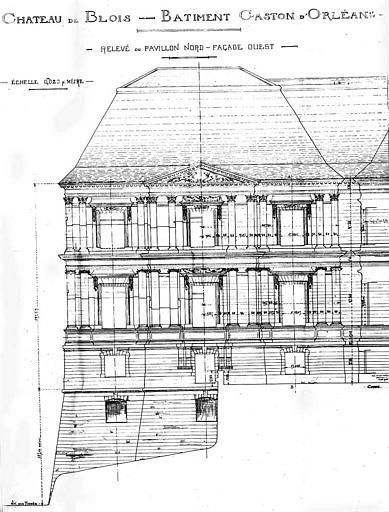 Bâtiment Gaston d'Orléans : Relevé du pavillon nord de la façade ouest