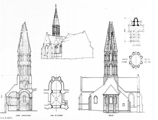 Clocher et abside : Plans, élévations et vue perspective