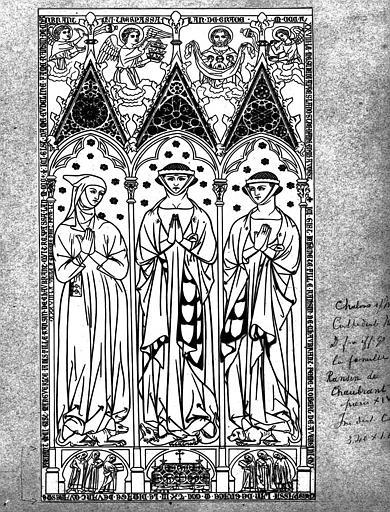 Relevé : Pierre gravée de la dalle funéraire de Eudeline Ransin de Chaubrant et de ses deux filles
