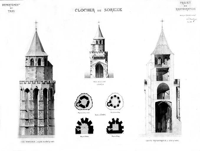 Projet de restauration du clocher : Plans, coupe et élévation des façades principales et absidale (lavis couleur)
