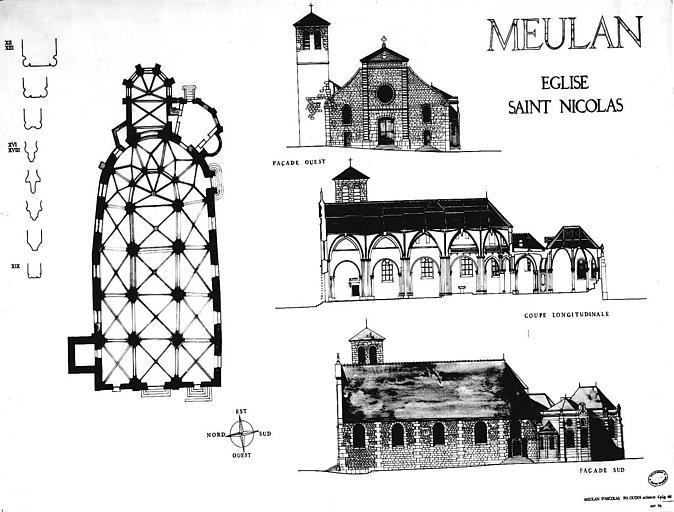 Plan, coupe longitudinale et élévations des façades ouest et sud