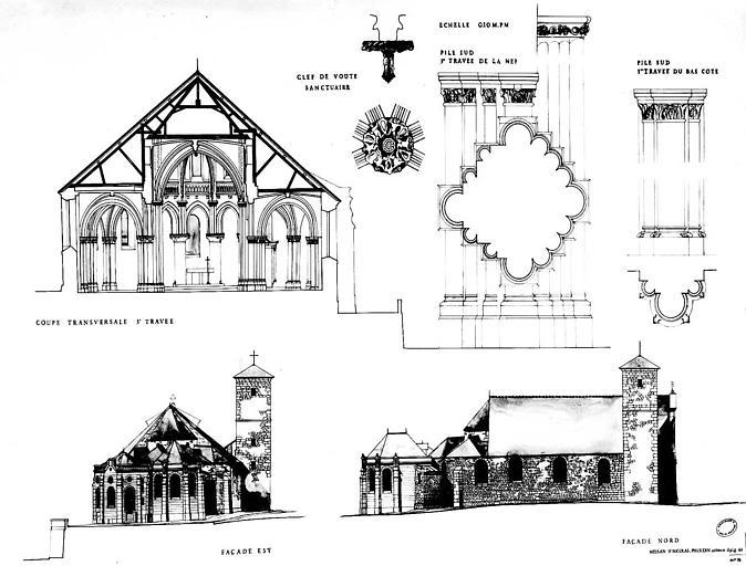 Coupe transversale, élévations des façades est et nord et détails architecturaux (piles, clé de voûte)