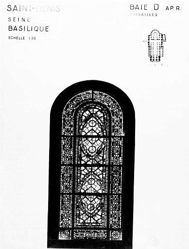 Grisailles, baie D, panneau de vitrail