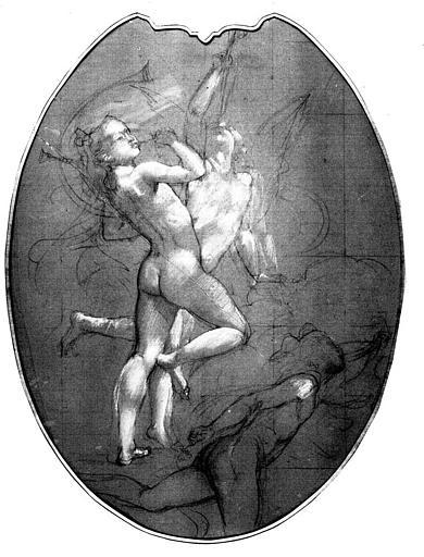 Dessin au crayon, rehauts de gouache blanche sur papier crème : La musique à Rome (étude pour un des médaillons du Grand Foyer de l'Opéra)