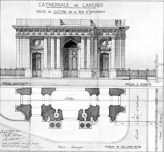 Plan du narthex et élévation de la grille de clôture de la rue d'isolement