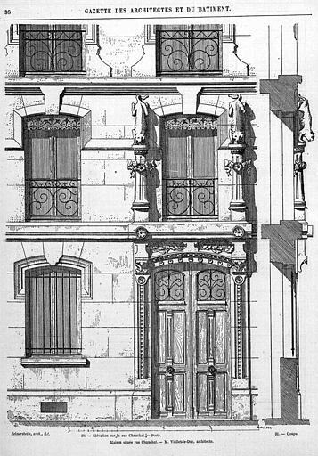 Gravure : Elévation partielle de la façade (fenêtres et porte)