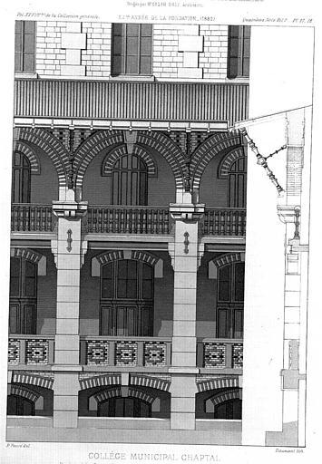 Lithographie : Elévation partielle d'une façade sur cour
