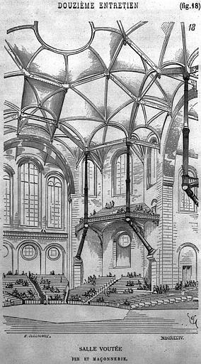 Gravure: Salle voûtée en fer et maçonnerie