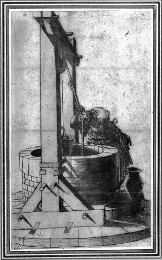 Dessin : Femme au puits