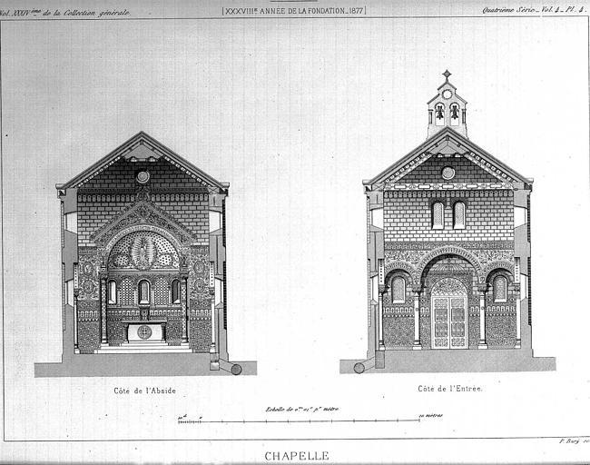 Gravure : Coupes transversales vers l'abside et vers l'entrée