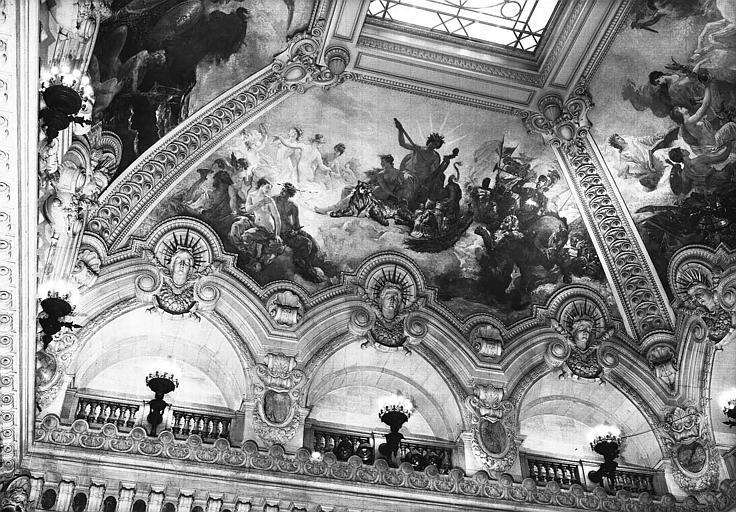 Peinture de la voûte du grand escalier : Le charme de la musique