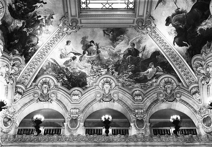 Peinture de la voûte du grand escalier : La Ville de Paris recevant le plan du nouvel Opéra