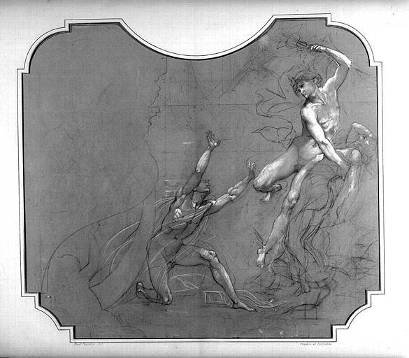Dessin d'étude pour le décor du Grand Foyer : Mort d'Eurydice