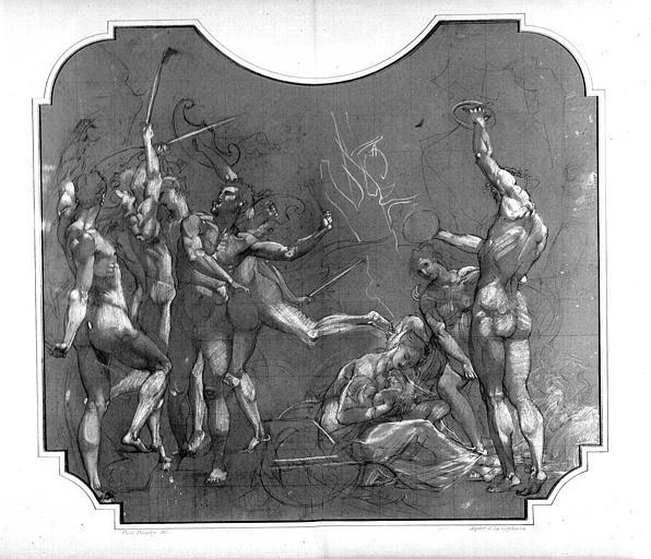 Dessin d'étude pour le décor du Grand Foyer : Jupiter et les Corybantes