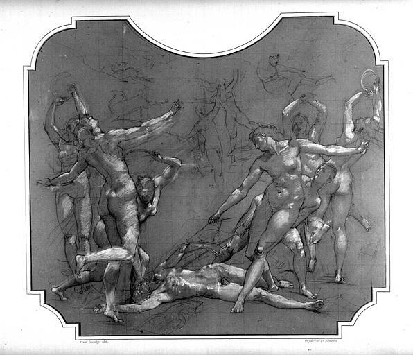 Dessin d'étude pour le décor du Grand Foyer : Orphée et les Ménades
