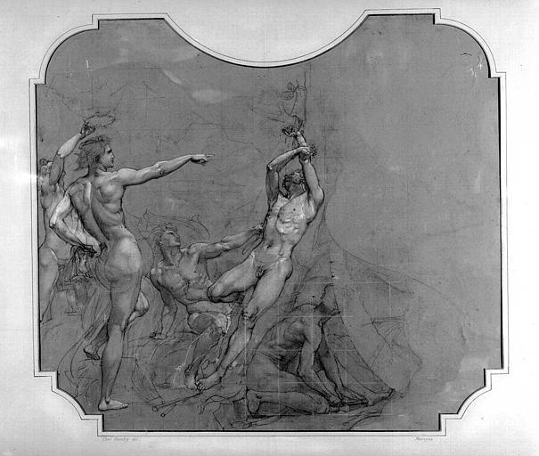 Dessin d'étude pour le décor du Grand Foyer : Apollon ordonnant le supplice de Marsyas
