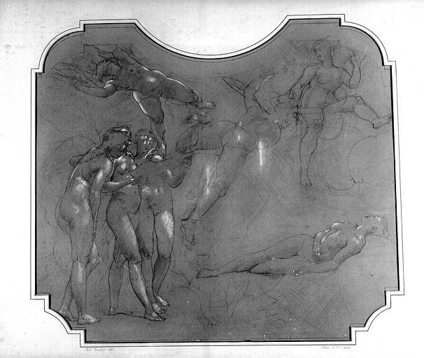 Dessin d'étude pour le décor du Grand Foyer : Mort de sainte Cécile