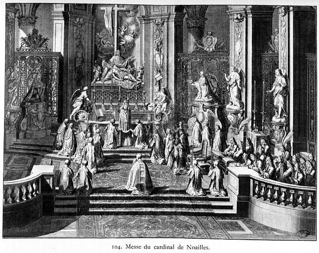 Gravure : Messe du cardinal de Noailles (vue d'ensemble du choeur)