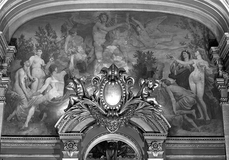 Décor du plafond du Grand Foyer : Apollon recevant la lyre