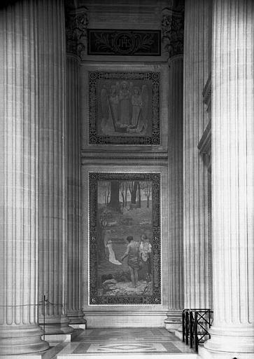 Peintures murales : Naissance de sainte Geneviève (haut) et Jeunesse de sainte Geneviève (bas)
