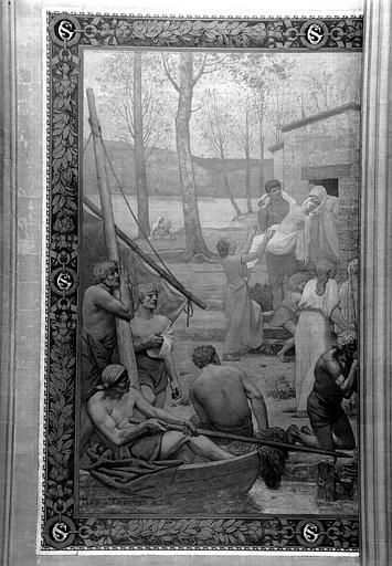 Peinture murale : Rencontre de sainte Geneviève et saint Germain d'Auxerre (partie gauche)