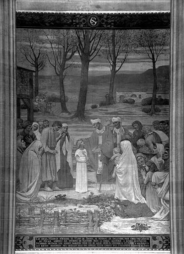 Peinture murale : Rencontre de sainte Genevièvre et saint Germain d'Auxerre (partie centrale)
