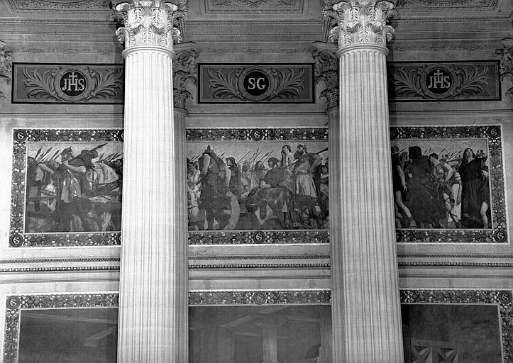 Peinture murale, frise supérieure : Procession vers le tombeau de sainte Geneviève