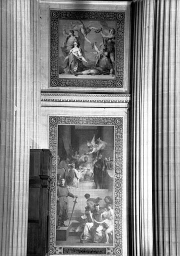 Peintures murales : La Mort de Roland (haut) et Charlemagne restaure les lettres et les sciences (bas)