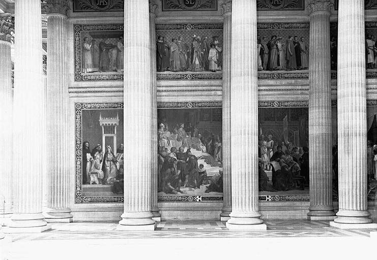 Peintures murales : Procession de la Couronne d'épines (haut), Scènes de la vie de saint Louis (bas)