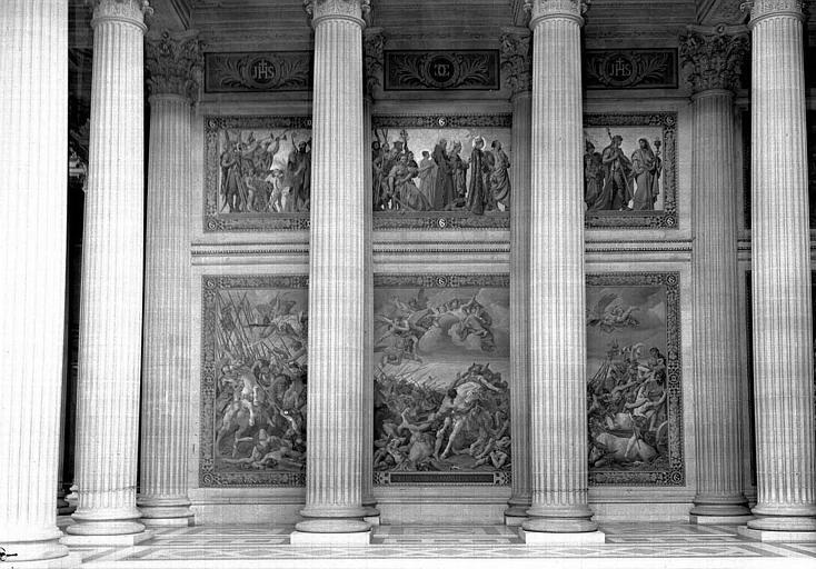 Peintures murales : Procession de saints et baptême de Clovis (haut), Bataille de Tolbiac (bas)