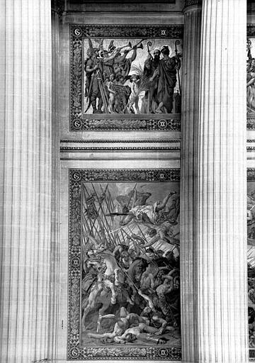Peintures murales : Procession de saints et baptême de Clovis (haut, partie gauche), Bataille de Tolbiac (bas, partie gauche)