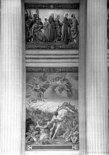 Peintures murales : Procession de saints et baptême de Clovis (haut, travée centrale), Bataille de Tolbiac (bas, travée centrale)