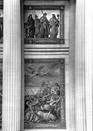 Peintures murales : Procession de saints et baptême de Clovis (haut, partie droite), Bataille de Tolbiac (bas, partie droite)
